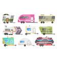 flat set classic camper vans vector image