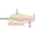florida divorce laws text background word cloud vector image vector image