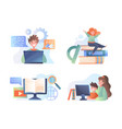 four different online education vector image
