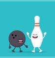 funny bowling ball and pin vector image