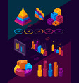 futuristic business charts isometric infographic vector image