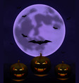 halloween background with full moon and pumpkins i vector image vector image