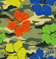 hibiscus on military background pattern vector image vector image