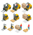 isometric forklift truck isolated on white vector image vector image