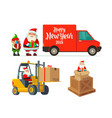 logistic santa claus and elf with a gift forklift vector image vector image
