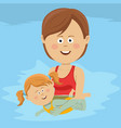 mom teaches her daughter to swim in swimming pool vector image vector image