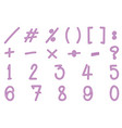 numbers and signs in pink color vector image vector image