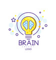 original emblem with energy brain and lightbulb vector image vector image