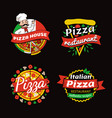 pizza places of high quality promotional emblems vector image vector image