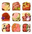 realistic sausage sandwich set vector image vector image