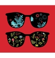 Retro sunglasses with birds reflection in it vector image