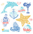 set hand drawn watercolor ribbons and stickers vector image vector image