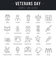 set line icons veterans day vector image vector image