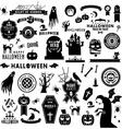 Set of Happy Halloween black silhouettes vector image vector image