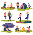 set of travelers tourists traveling yoga hiking vector image