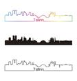 Tallinn skyline linear style with rainbow vector image