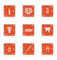 transoceanic icons set grunge style vector image