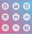 traveling icons line style set with baggage vector image vector image