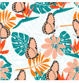 tropical pattern with butterflies vector image vector image