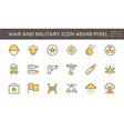 war and military icon set design 48x48 pixel vector image vector image