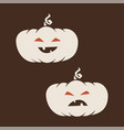 white cartoon halloween pumpkins icon smiley and vector image vector image