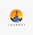 woman on a mountain peak logo freedom logo icon vector image vector image