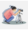 Young female photographer photographing vector image