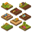 Agricultural Machines Isometric Field Set vector image