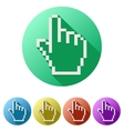 Pixel cursor flat icon click mouse hand vector image
