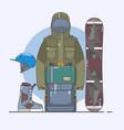 snowboard accessorieswinter sports icon set line vector image