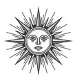 antique sun face icon on white background vector image vector image