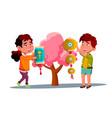 asian little boy and girl hanging chinese red vector image