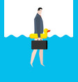 businessman and inflatable duck manager on vector image vector image
