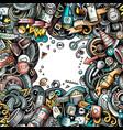 cartoon cute doodles vehicle frame border vector image vector image