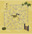 cartoon kids maze in dinosaur world vector image