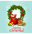 Christmas card with holly berry wreath and gift vector image vector image