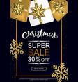 christmas sale poster with shiny snowflake gift vector image vector image