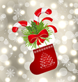Christmas sock with sweet canes vector image