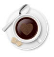 coffee with sugar and spoon on white background vector image