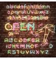 Color neon font set vector image vector image