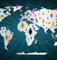 Colorful People Icons on World Map - Social Media vector image vector image
