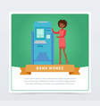 consultant manager woman standing next to atm vector image vector image