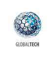 digital sphere global link technology logo vector image vector image