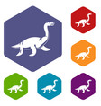 elasmosaurine dinosaur icons set hexagon vector image vector image