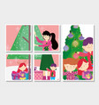 family decorating tree merry christmas happy new vector image