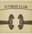 fitness club symbol hands with dumbbells old vector image