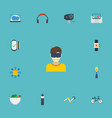 flat icons laptop bicycle camera and other vector image