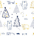 forest and bear seamless pattern print design vector image vector image