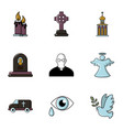 funeral icons set flat style vector image vector image