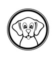 funny dog black and white design vector image